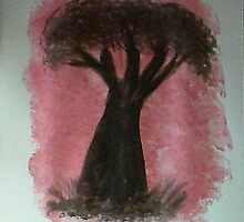Tree Study of Africa Series #2, watercolor by Anna  Lewis, blind artist