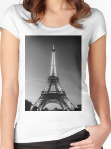 Eiffel Tower and sunset (Black and White) Women's Fitted Scoop T-Shirt