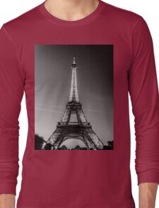Eiffel Tower and sunset (Black and White) Long Sleeve T-Shirt