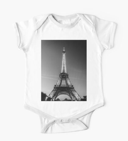 Eiffel Tower and sunset (Black and White) One Piece - Short Sleeve