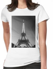 Eiffel Tower and sunset (Black and White) Womens Fitted T-Shirt