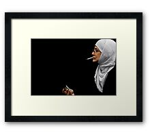 woman in profile Framed Print
