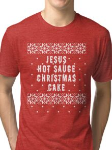 Jesus Hot Sauce Christmas Cake Tri-blend T-Shirt