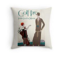 Woman golf pro, Vintage Art Deco Sport poster Throw Pillow