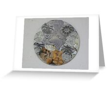Circular Collage of Concentric Lines  & Forms Greeting Card