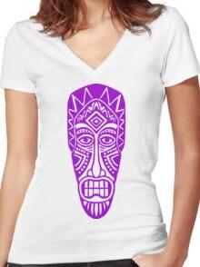 Tiki Mask - Purple Women's Fitted V-Neck T-Shirt