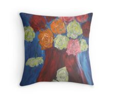 flowers in red vase Throw Pillow