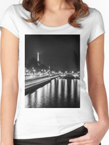 Eiffel Tower overview - panorama (Black & White) Women's Fitted Scoop T-Shirt