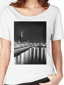Eiffel Tower overview - panorama (Black & White) Women's Relaxed Fit T-Shirt