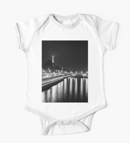 Eiffel Tower overview - panorama (Black & White) One Piece - Short Sleeve