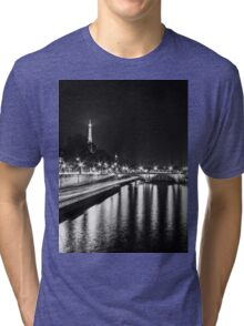 Eiffel Tower overview - panorama (Black & White) Tri-blend T-Shirt