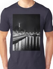 Eiffel Tower overview - panorama (Black & White) Unisex T-Shirt