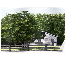 Grey Barn and Fence Poster