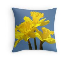 Blue Sky Floral art print Yellow Daffodil Flowers Throw Pillow