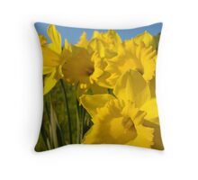 Golden Yellow Daffodil Flower Meadow art Baslee Troutman Throw Pillow