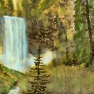 Grunge Painting of Mountain Walterfall by Walter Colvin