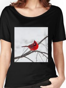 Cardinal On A Branch  Women's Relaxed Fit T-Shirt