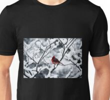 Cardinal In Snow Covered Tree Unisex T-Shirt