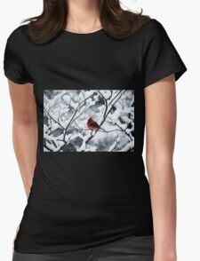 Cardinal In Snow Covered Tree Womens Fitted T-Shirt