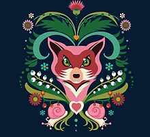 Pink FOX Portrait with Snails by Kimazo