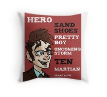 Sand Shoes and other phrases - The Tenth Doctor Throw Pillow
