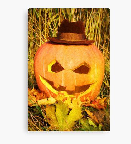 scary pumpkin hat Canvas Print