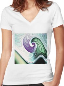 Wave Goodbye Women's Fitted V-Neck T-Shirt