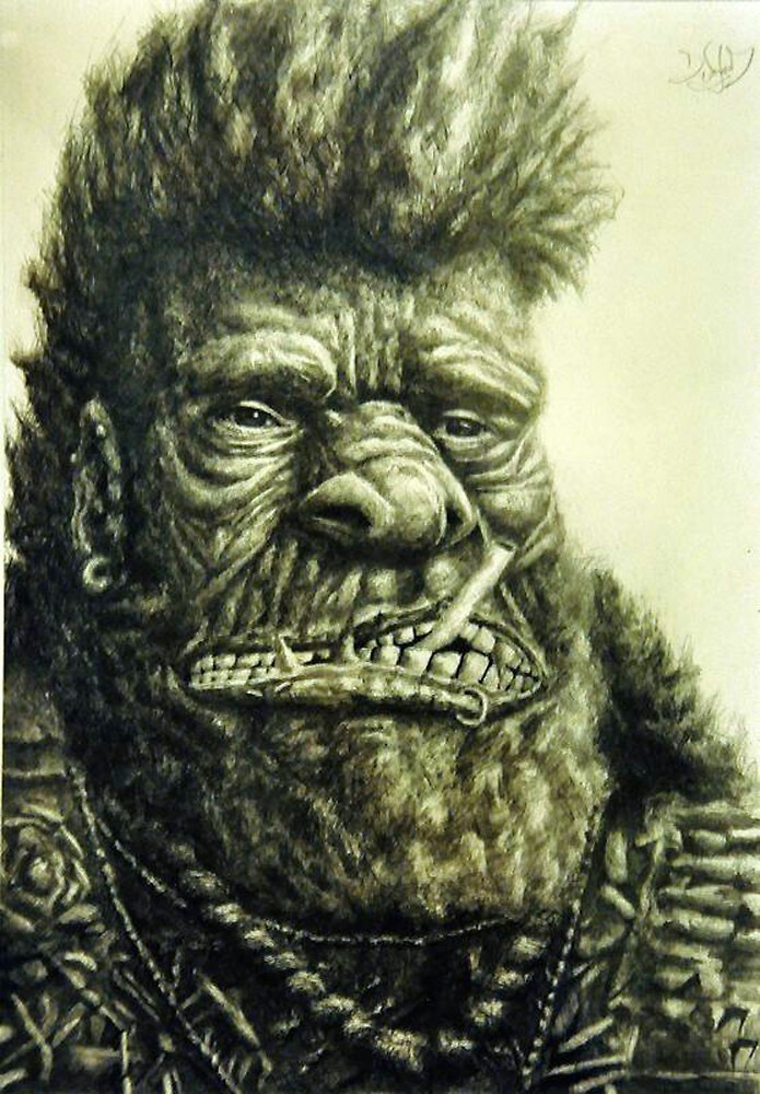 Gorilla with Cigarette by waylandchu