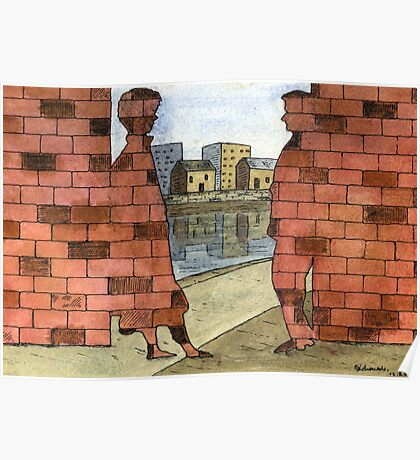 070 - IF ONLY THESE BRICKS COULD TALK I (WATERCOLOUR & INK) - 1997 Poster