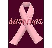 Survivor with Pink Ribbon Photographic Print