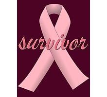 Survivor with Pink Ribbon Photographic Print