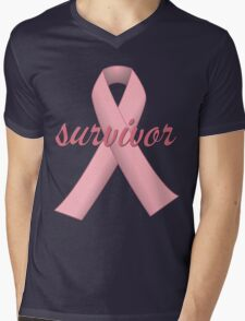 Survivor with Pink Ribbon Mens V-Neck T-Shirt
