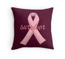 Survivor with Pink Ribbon Throw Pillow