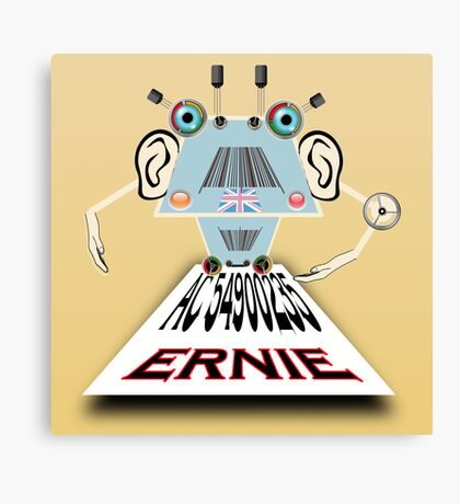 Ernie, Premium bonds computer Cartoon Canvas Print