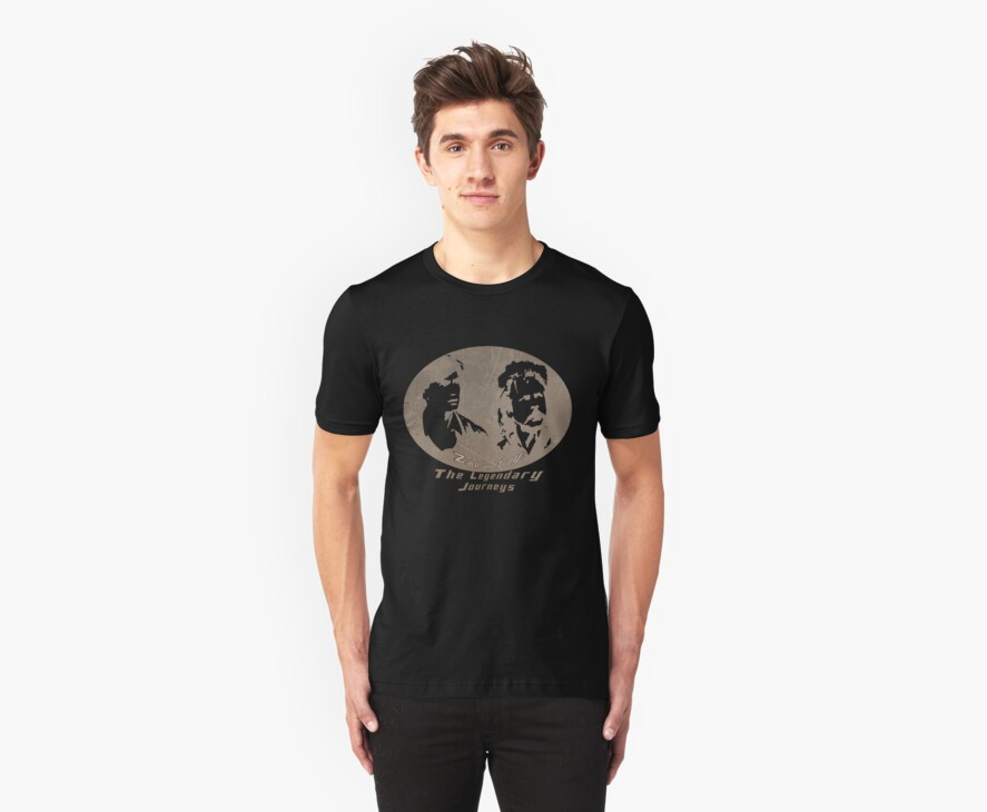 Rowsdower:  Zap And Troy the Legendary Journeys Tee (sepia version) by Margaret Bryant