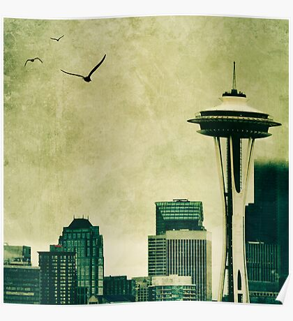 """""""Textured Seattle"""" Poster"""