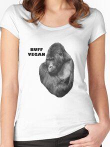 BUFF VEGAN - gorilla Women's Fitted Scoop T-Shirt