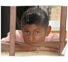Boy Looking Through the Window Poster