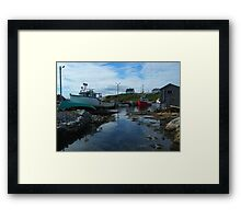 The Red Boat In The Back Framed Print