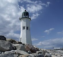 Scituate lighthouse on the Rocks by irmajxxx