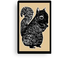 Black Squirrel Printmaking Art with Oak Canvas Print