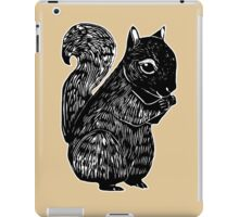 Black Squirrel Printmaking Art with Oak iPad Case/Skin