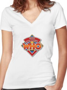 Nurse Practitioner Who Women's Fitted V-Neck T-Shirt