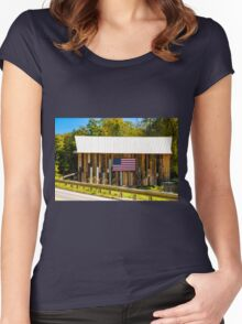 Riverside Farm Covered Bridge Women's Fitted Scoop T-Shirt