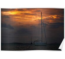 Sail Boat Sunset Sky Poster