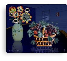 Blue Room With Basket of Fruit Canvas Print