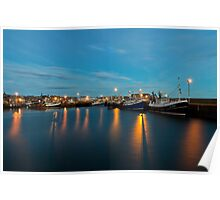 Harbour Lights At Dawn Reflecting in the Harbour Waters Poster