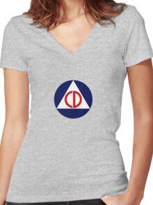 Civil Defense Emblem Women's Fitted V-Neck T-Shirt