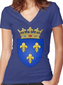 Royal French Coat of Arms, 1376–1515 Women's Fitted V-Neck T-Shirt
