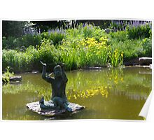 Statue of Little Girl with Butterflies in Pond Poster